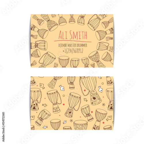African Drum Visit Card Djembe Master Drummer Business Isolated Beige Template With Zulu