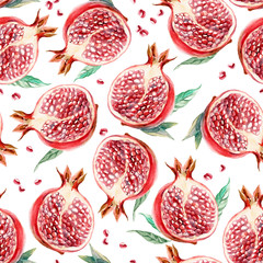Seamless watercolor pattern of slice garnet on white background