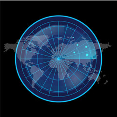 Digital Blue Radar Screen and World Map on Black Background