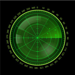 Digital Green Radar Screen on Black Background