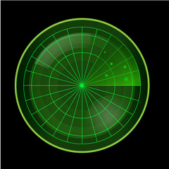 Green Radar Screen on Black Background