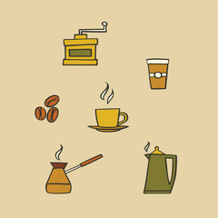 illustration icon set of coffee: mug, coffee maker, coffee grinder, beans, kettle, coffee to go