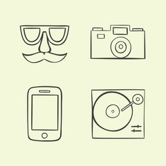 illustration icon set of hipster: face, camera, phone, turntable