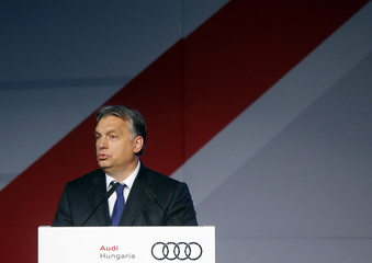 Hungarian Prime Minister Viktor Orban delivers a speech during a ceremony for the start of the serial production of the new Audi TT roadster at the Audi plant in Gyor