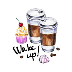 Watercolor illustration with disposable cups of coffee, cupcake, meringue and coffee beans. Hand painted illustration.