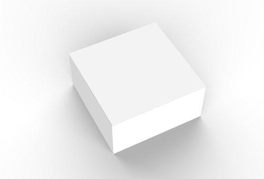 White cardboard box mock up. 3D illustrating.
