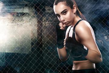 Brutal Fighter boxer woman close up. Sport Concept.