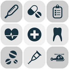 Medicine Icons Set. Collection Of Dental, Rhythm, Copter And Other Elements. Also Includes Symbols Such As Care, Dental, Pulse.