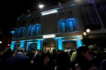 Guests attend a reception for the re-opening of the Tiffany & Co. store in Beverly Hills