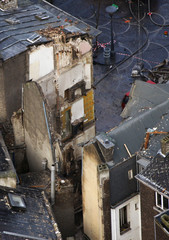 An aerial view shows the area where a house collapsed in Liege