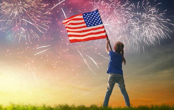 Patriotic holiday. Happy kid