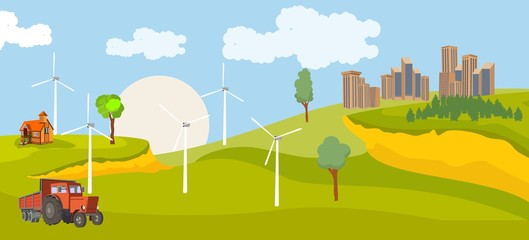 Horizontal vector illustration of countryside, city on green hills
