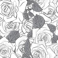 Beautiful black, gray and white rose flower, seamless pattern. Botanical hand drawn silhouette. Flat stylization color