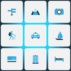 Traveling Colorful Icons Set. Collection Of Bed, Tourist, Sail And Other Elements. Also Includes Symbols Such As Man, Building, Doss.
