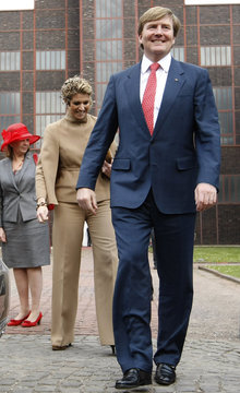 Crown Princess Maxima and Crown Prince Willem Alexander of the Netherlands leave after visiting 'Zeche Zollverein', former coal mine in Essen