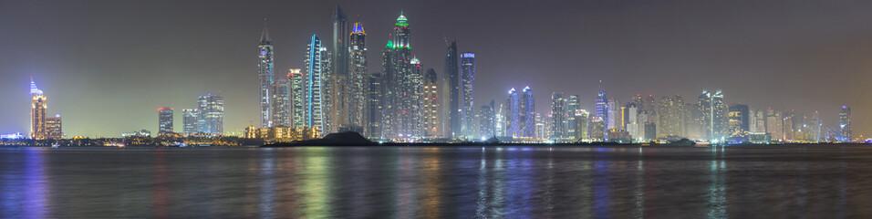 Dubai Marina panorama in late evening