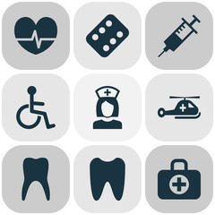 Antibiotic Icons Set. Collection Of Surgical Bag, Nanny, Disabled And Other Elements. Also Includes Symbols Such As Copter, Syringe, Helicopter.