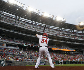 Washington Nationals batter Bryce Harper warms up prior to hitting against the Atlanta Braves during their MLB baseball game in Washington