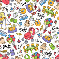 Vector seamless pattern with hand drawn colored goods, accessories for little baby. Pattern on the theme of newborn baby