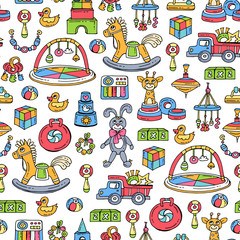 Vector seamless pattern with hand drawn colored toys for boys and girls. Pattern on the theme of games for children