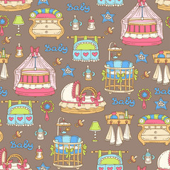 Vector seamless pattern with hand drawn furniture, accessories for newborn baby on brown color. Pattern on the theme of children's room