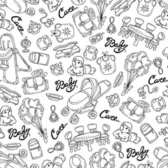 Vector seamless pattern with hand drawn goods, accessories for little baby on white color. Pattern on the theme of newborn baby