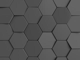 Hexagonal abstract background. Dark gray 3d rendering