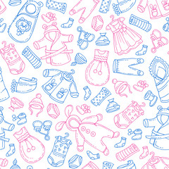 Vector seamless pattern with hand drawn isolated clothes for newborn boy and girl. Pattern on the theme of fashion