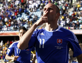 Slovakia's Vittek celebrates after scoring against New Zealand during 2010 World Cup Group F soccer match at Royal Bafokeng stadium in Rustenburg