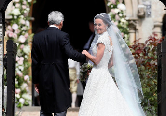 Pippa Middleton, the sister of Britain's Catherine, Duchess of Cambridge, arrives for her wedding to James Matthews at St Mark's Church in Englefield, west of London