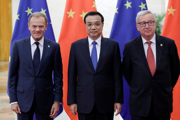 China's Premier Li Keqiang meets European Commission President Jean-Claude Juncker and European Council President Donald Tusk in Beijing