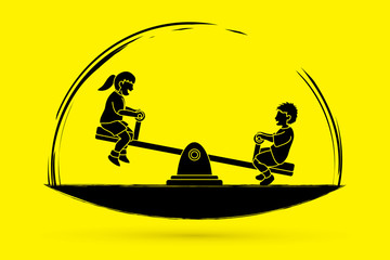 Happy Children, Little boy and girl are playing seesaw together graphic vector
