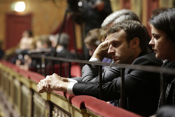 French Economy Minister Emmanuel Macron attends a special congress of the joint upper and lower houses of parliament at the Palace of Versailles, near Paris