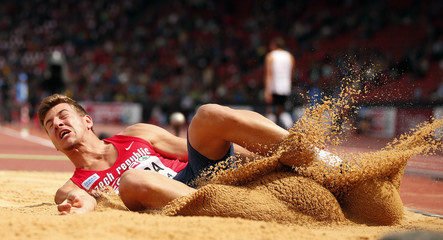 Sykora of the Czech Republic competes in the men's long jump decathlon during the Zurich 2014 European Athletics Championships at the Letzigrund Stadium in Zurich