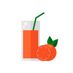 Grapefruit juice isolated icon on white background. Glass of juice with tubule. Flat style vector illustration.