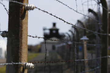 A fence is pictured on the grounds of the former Nazi concentration camp Buchenwald near Weimar
