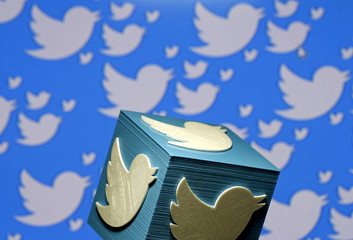 A 3D-printed logo for Twitter is seen in this picture illustration