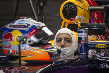 Red Bull Formula One driver Ricciardo of Australia sits in car ahead of third practice session of the F1 United States Grand Prix in Austin, Texas