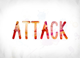 Attack Concept Painted Watercolor Word Art