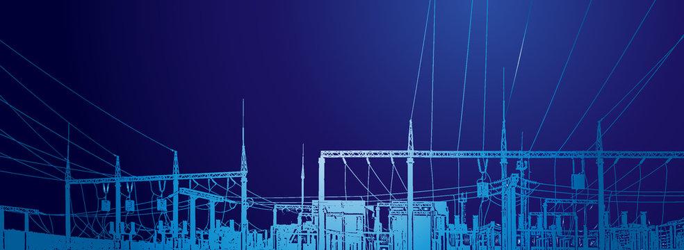 Vector contour silhouette. Substation, powerhouse. High-voltage line. Poles, cable