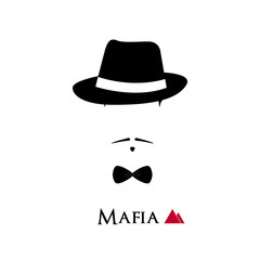 Italian Mafioso face on white background.