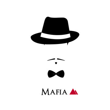 Italian Mafioso face on white background.