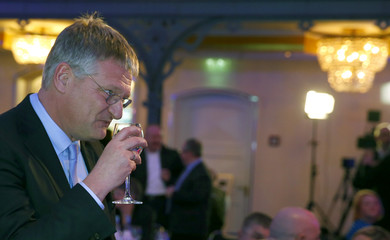 Meuthen co-chairman of AFD meets supporters following Baden-Wuerttemberg state election in Stuttgart