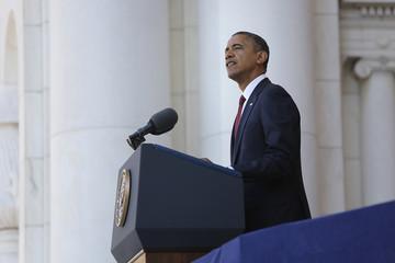 Obama makes Veterans Day remarks at Arlington National Cemetery in Arlington, Virginia