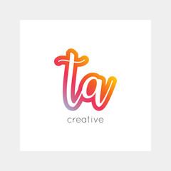 TA logo, vector. Useful as branding, app icon, alphabet combination, clip-art.
