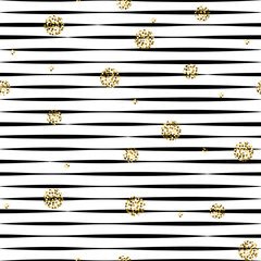 Striped black and white seamless pattern with golden shimmer polka dots.