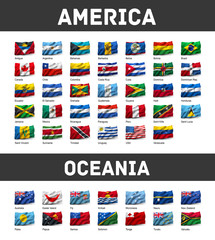 Set of American and Oceanian flags
