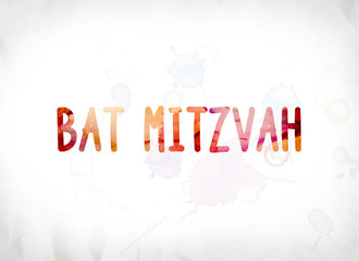 Bat Mitzvah Concept Painted Watercolor Word Art