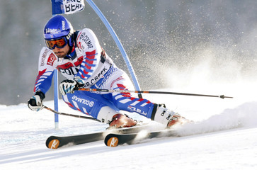 Jean-Baptiste Grange of France skis to the tenth best time in the first run of the men's World Cup giant slalom in Beaver Creek