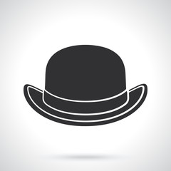 Silhouette of retro bowler hat front view